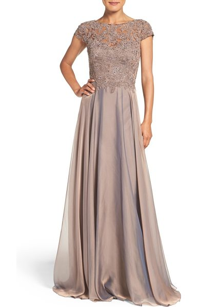 La Femme embellished lace & satin ballgown in brown - Richly textured lace flecked with crystal jewels defines...