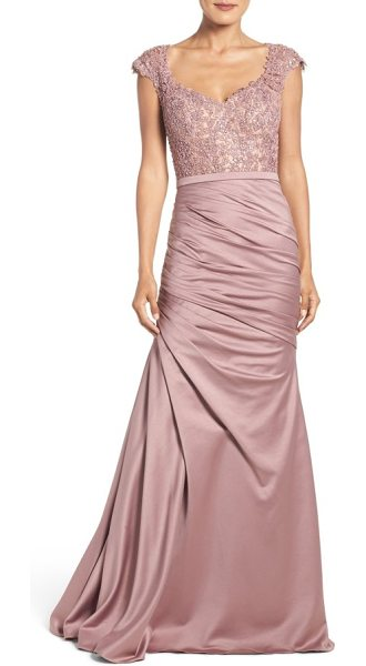 La Femme embellished lace & satin mermaid gown in pink