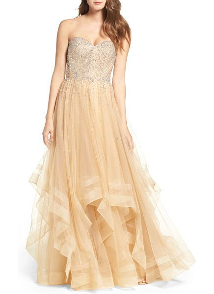 La Femme embellished strapless ballgown in nude - A multitude of radiant crystals coats the sweetheart...