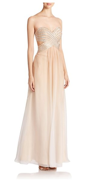 La Femme Embellished sweetheart gown in nude - This ethereal ombré chiffon gown is elevated by a...