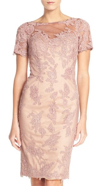 La Femme embellished tulle sheath dress in mauve - Lacy embroidery flecked in twinkling rhinestones wraps...