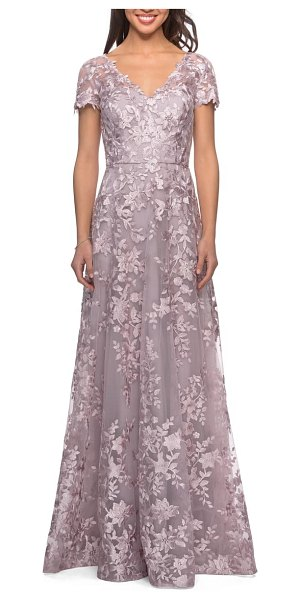La Femme embroidered lace a-line gown in pink