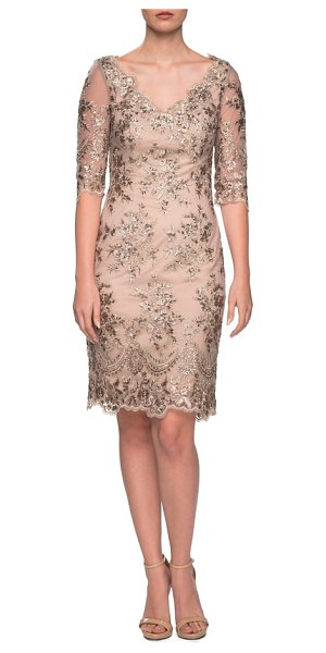 La Femme embroidered lace sheath dress in gold/ nude - Lustrous embroidery dazzles a gorgeous sheath fashioned...