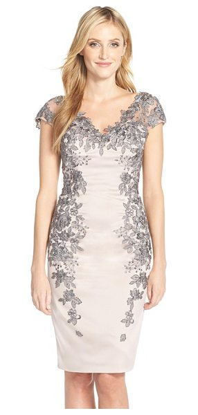 La Femme floral applique satin shift dress in champagne/ grey - Delicate floral appliques and rhinestones embellish the...