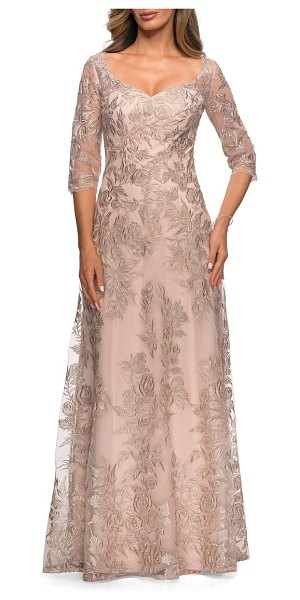 La Femme floral embroidered mesh a-line gown in beige