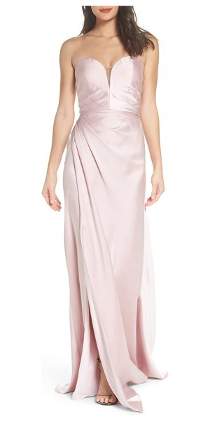 LA FEMME gathered strapless satin gown - An elegantly gathered waist and pleated bodice create...