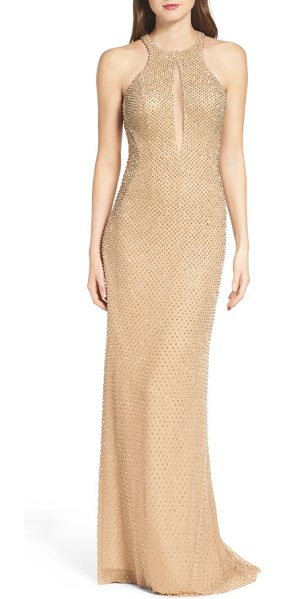 La Femme mesh gown in nude - Golden beads glimmer throughout this slinky column gown...