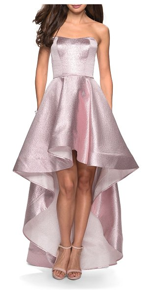 La Femme Metallic Strapless Sweetheart High-Low Gown with Pockets in pink