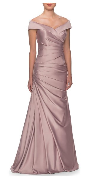 La Femme Off-the-Shoulder Ruched Satin Gown in champagne