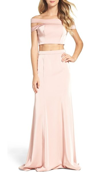La Femme off the shoulder two-piece gown in blush - Make it an evening to remember in a pretty-in-pink gown...