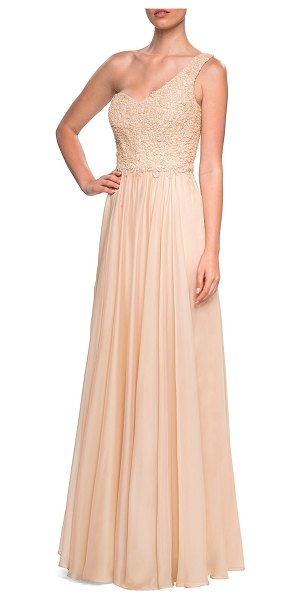 La Femme One-shoulder Embellished Lace Bodice Chiffon Gown in nude