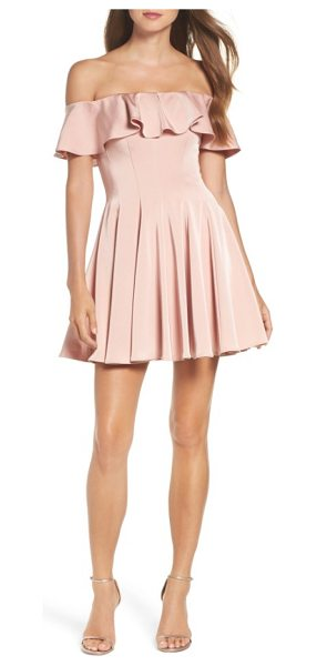 LA FEMME ruffle off the shoulder fit & flare dress - Stop the show with your lovely shoulders in this darted...