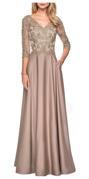 La Femme Satin A-Line Lace-Top Gown in gold/olive