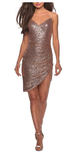La Femme sequin side rucked party sheath in pink