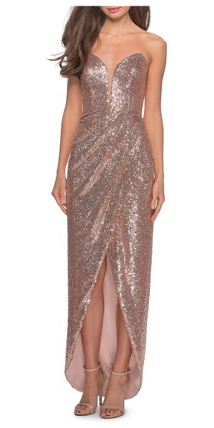 La Femme sequin strapless ruched gown in pink