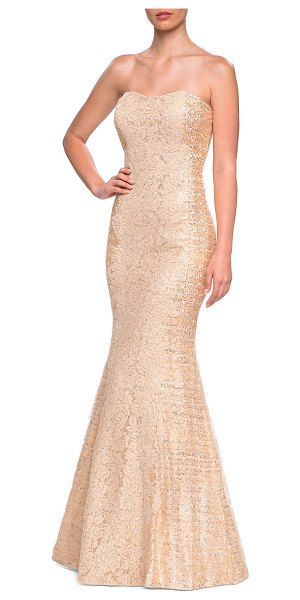 La Femme Sequins & Lace Strapless Mermaid Gown in nude