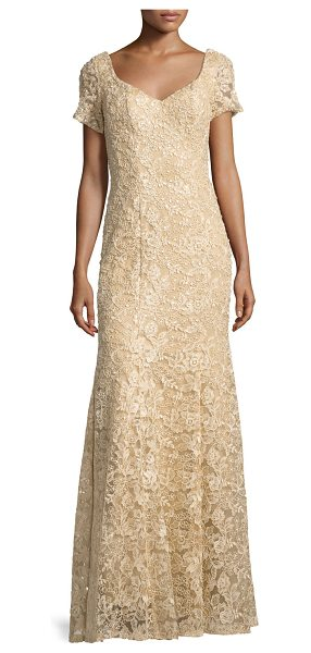 "La Femme Short-Sleeve Sequined Lace Gown in nude - La Femme lace gown with sequin detailing. Approx. 60""L..."