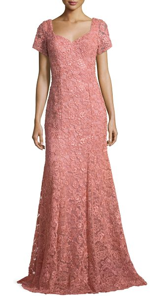 """La Femme Short-Sleeve Sequined Lace Gown in antique rose - La Femme lace gown with sequin detailing. Approx. 60""""L..."""