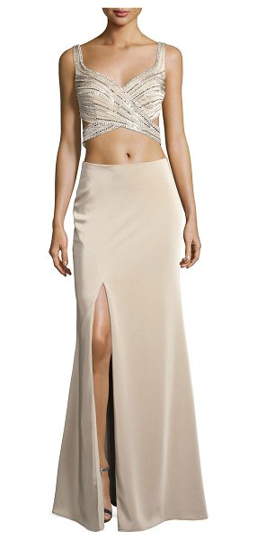 La Femme Sleeveless Beaded Cutout Gown in nude - La Femme evening gown with two-piece illusion. Approx....