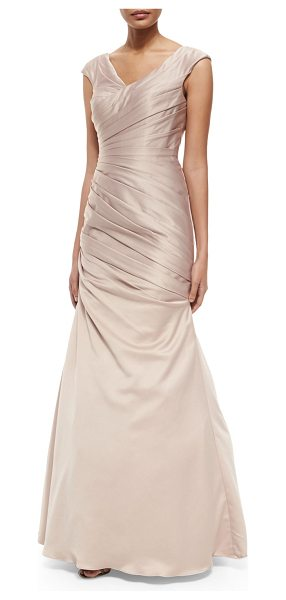 "La Femme Sleeveless Ruched Satin Gown in champagne - La Femme satin gown. Approx. measurements: 60""L; 36""..."