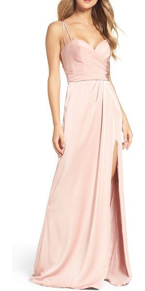 La Femme sweetheart gown in blush - Leave them blushing in a pastel pink gown that shimmers...