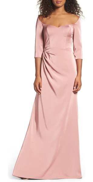 La Femme sweetheart satin gown in pink - A stunning sweetheart neckline graces the shoulders and...