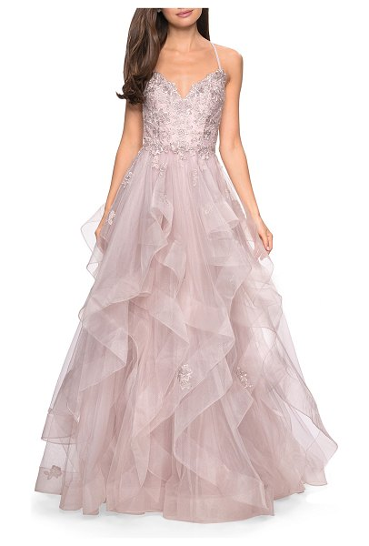 La Femme Sweetheart Sleeveless Lace Applique & Tiered Tulle Ball Gown in dusty mauve