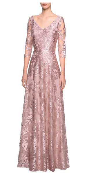 La Femme floral embroidered a-line gown in pink