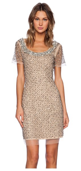 La Maison Sequin cap sleeve dress in tan - Self: 95% nylon 5% spandexLining: 100% poly. Dry clean...