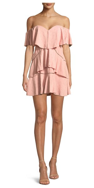 La Maison Talulah Penelope Off-the-Shoulder Tiered Ruffle Mini Dress in pink