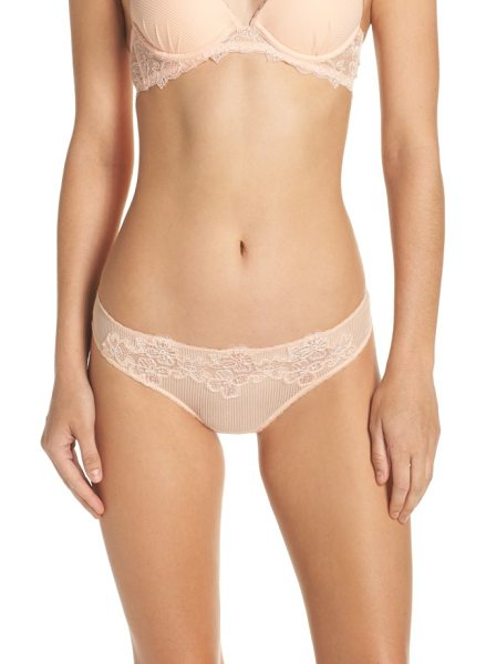 La Perla english rose thong in peach - Delicate floral appliques and needle-stripe texture...