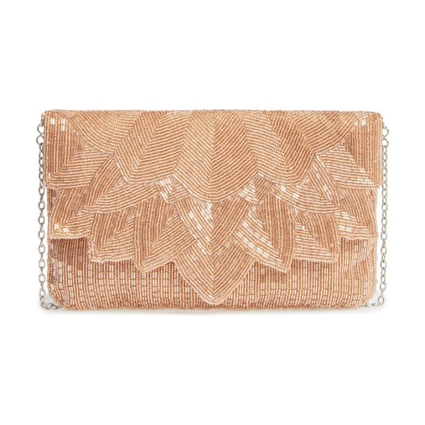 LA REGALE beaded petal flap clutch in rosegold - Intricate beading underscores the vintage aesthetic of...