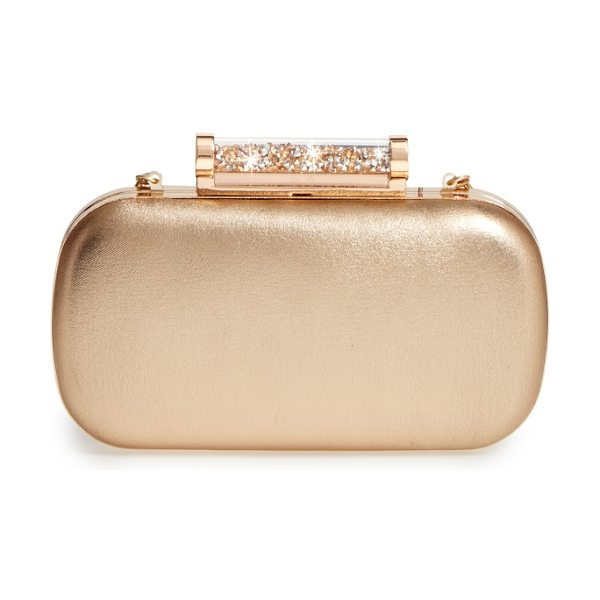 LA REGALE crystal tube clasp clutch in gold - Accessorize to impress with a capsule evening clutch...