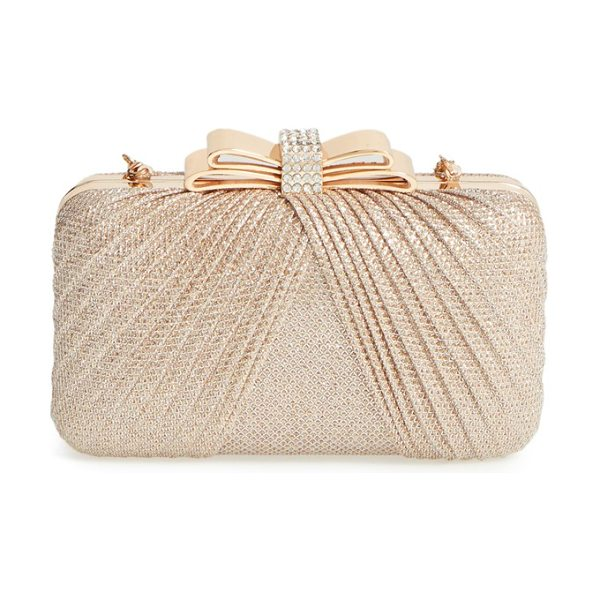 La Regale Metallic bow frame clutch in gold - Pleated metallic netting and a pave crystal-embellished...