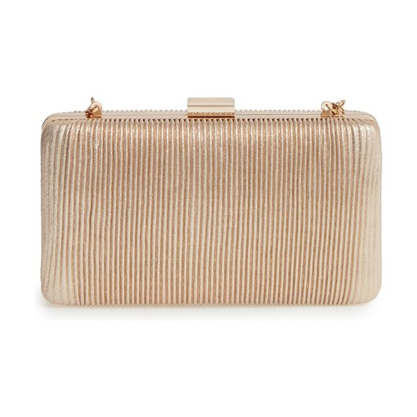 LA REGALE pleated box clutch - Slender metallic pleating brings shimmer and texture to...