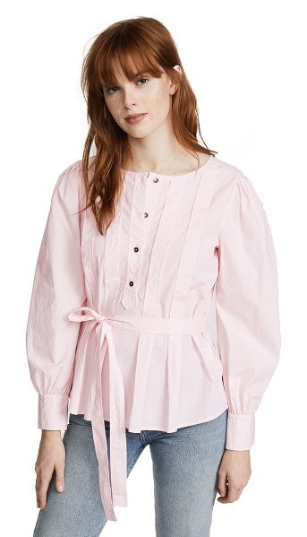 La Vie by Rebecca Taylor long sleeve belted pop top in cherry blossom - Fabric: Poplin Waist-length style Henley style Long...