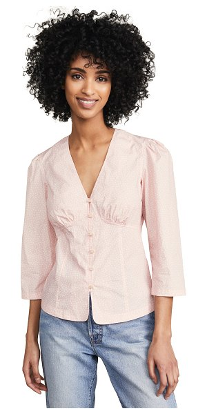La Vie by Rebecca Taylor long sleeve nouvelle top in cream blush
