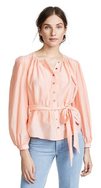 La Vie by Rebecca Taylor long sleeve silk cotton top in rose cloud - Fabric: Soft weave Pleated detailing Puff shoulders...