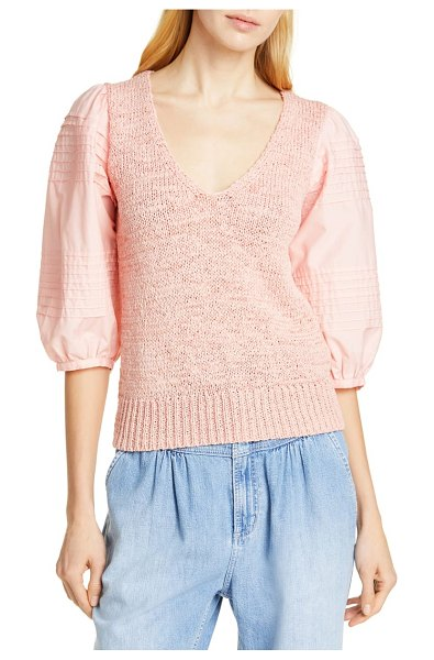 La Vie by Rebecca Taylor mix media cotton sleeve sweater in pink - A nubby cotton-blend knit lends touchable texture to...
