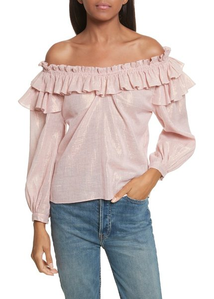 La Vie by Rebecca Taylor off the shoulder metallic ruffled top in mauve - Catch the light in this shimmering blouse, romanced by a...