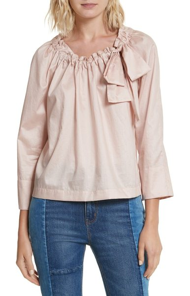 La Vie by Rebecca Taylor bow neck washed sateen top in rose smoke - Indulgently feminine and romantic, a billowy peasant top...