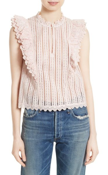 La Vie by Rebecca Taylor celsie eyelet top in shell pink - A romantic trifecta of structured ruffles, peekaboo...