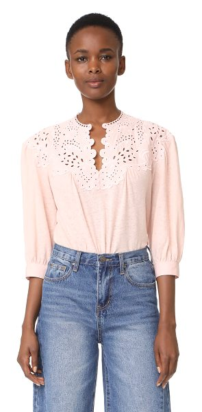 La Vie by Rebecca Taylor long sleeve textured eyelet blouse in pale blush - This burnout jersey La Vie Rebecca Taylor is designed...