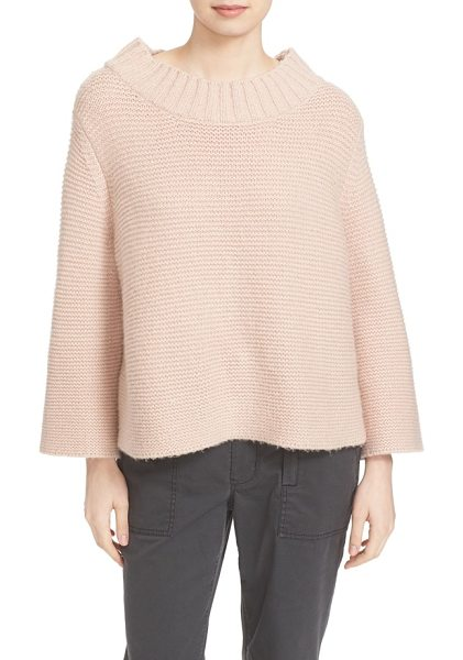 La Vie by Rebecca Taylor mock neck sweater in blush - An exaggerated mock neck and slightly belled sleeves...