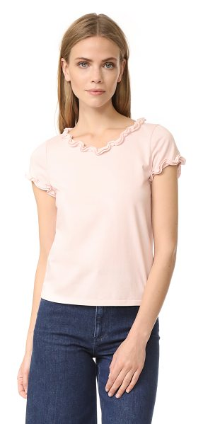 La Vie by Rebecca Taylor short sleeve ruffle tee in shell pink - Ruffle trim lends feminine flair to this crew-neck La...