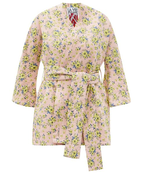 La Vie Style House no. 481 floral-jacquard coverup in pink multi