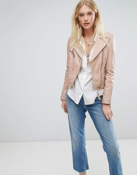 "LAB LEATHER Lab Leather Biker Jacket in Nude in pink - """"Biker jacket by Lab Leather, Leather outer, Notch..."