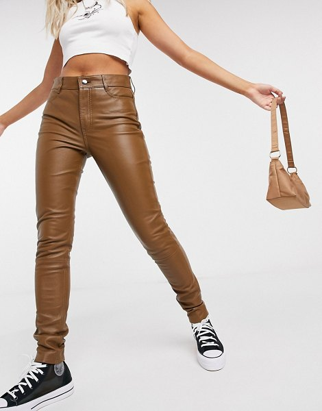 LAB LEATHER real leather pants in brown in brown