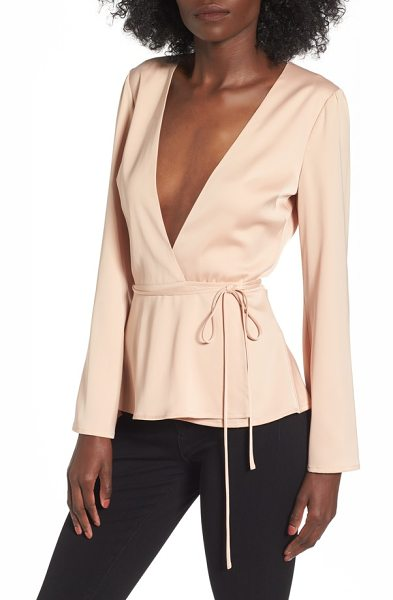 L'Academie l'academie the eliot wrap blouse in rose - Chic in its simplicity, this wrap top is designed with a...