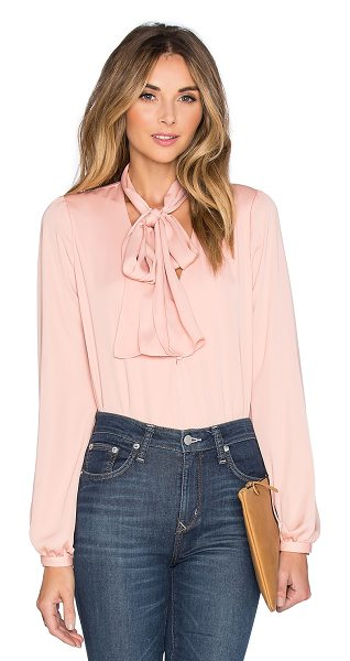 L'Academie The 70's Blouse in blush - 100% poly. Dry clean only. Partial front button placket....